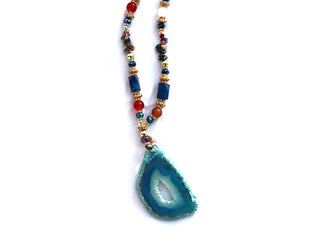 Aqua and Crystal Pendant Necklace