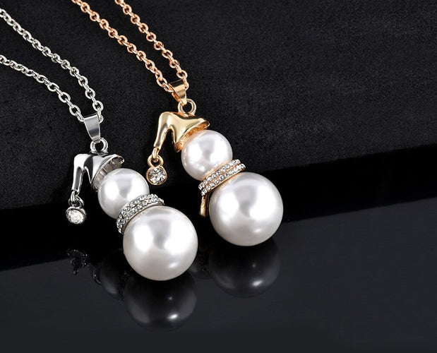 Pearl Snowman Pendant Necklace