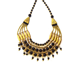 Black and Gold Beaded Ethnic Necklace