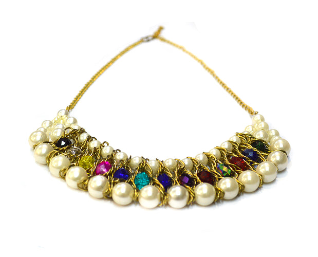 Pearl and Vibrant Bead Woven Necklace