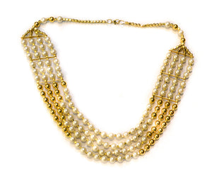 Multilayered Pearl and Gold Beaded Necklace