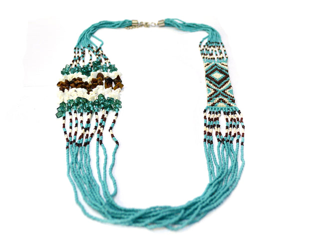 Long Asymmetrical Turquoise Beaded Necklace