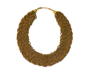 Golden Braided Choker Style Necklace