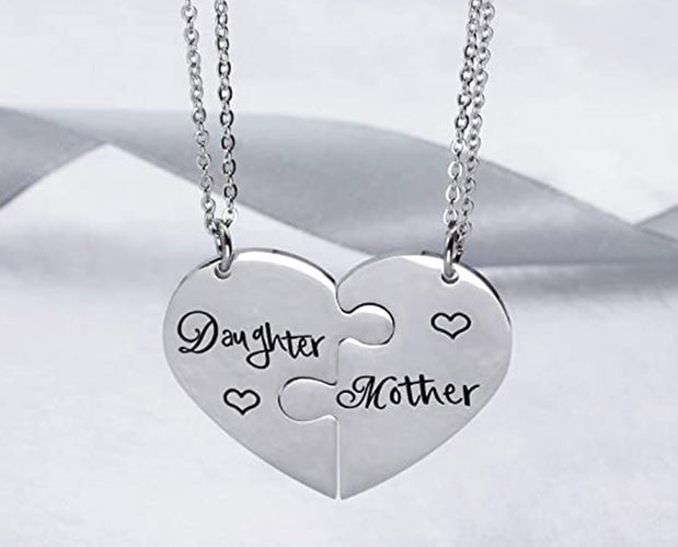 Mother Daughter Puzzle Piece Necklace