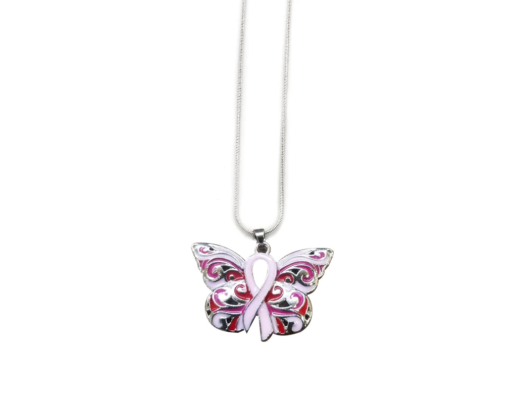 Pink Ribbon Butterfly Necklace