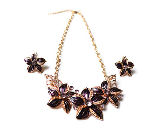 Aubergine Poinsettia Necklace Set