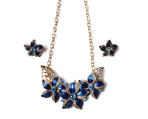 Indigo Poinsettia Necklace Set