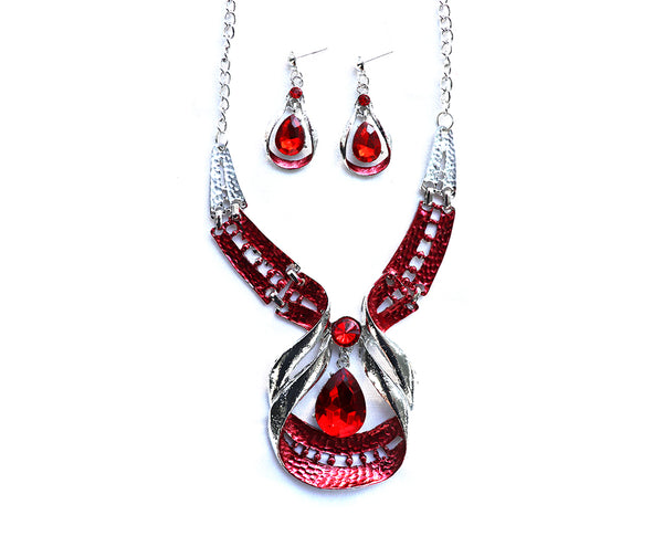 Unique Red and Silver Necklace Set