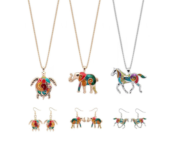 Enameled Animal Earring and Necklace Set