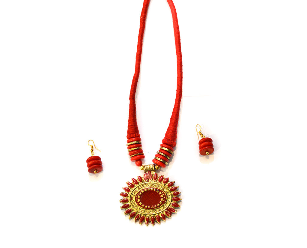Spectacular Red and Gold Tribal Necklace Set