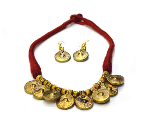 Ethnic Brass Medallion Necklace Set