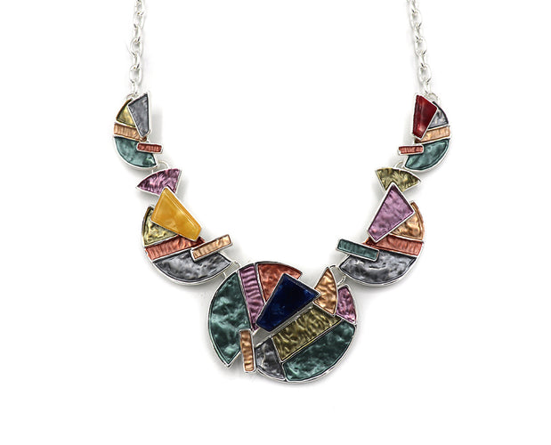 Glittery Half Circle Necklace Set