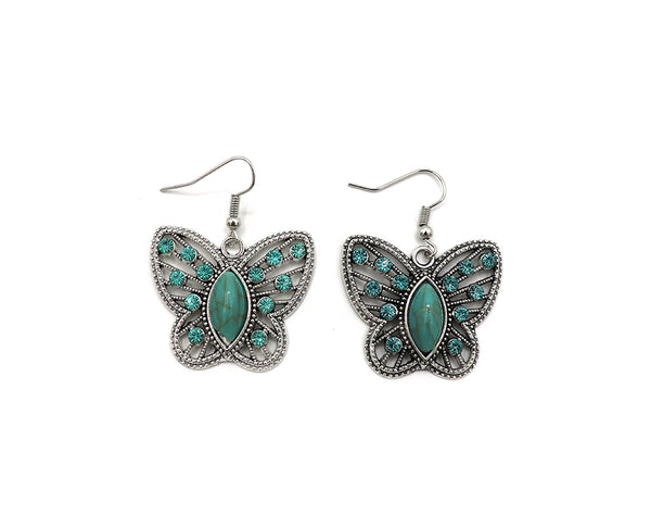 Turquoise and Rhinestone Butterfly Necklace Set