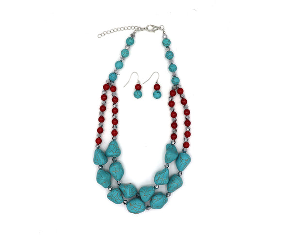 Smashing Turquoise and Red Necklace Set