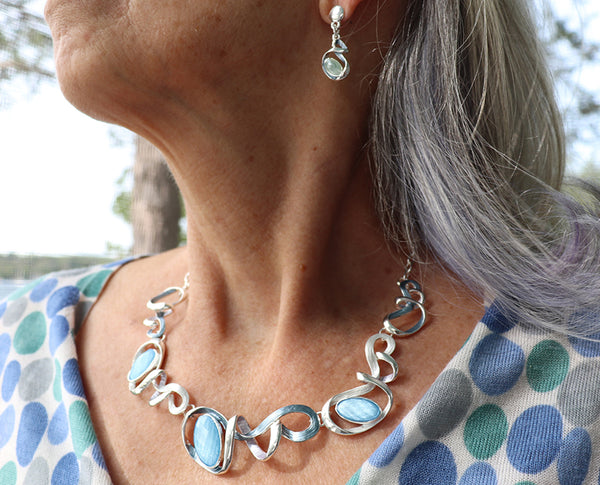 Cerulean Swirls Necklace Set