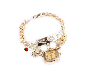 Exemplary Bracelet Wrist Watch With Initial and Birthstone