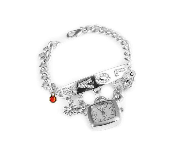 Exemplary bracelet wrist watch with a trendy metal strap With Initial and Birthstone