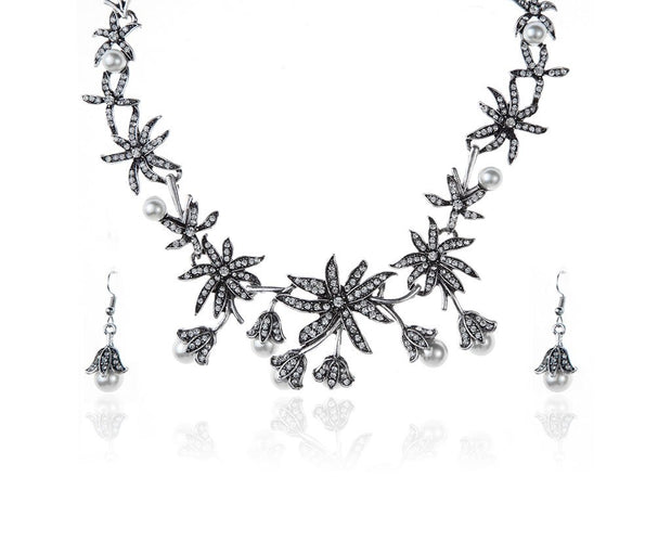Gathered Lilies Pearls Crowned Jewel Statement Set