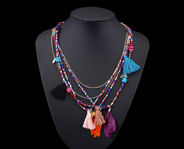 Multicolored Boho Beaded Necklace