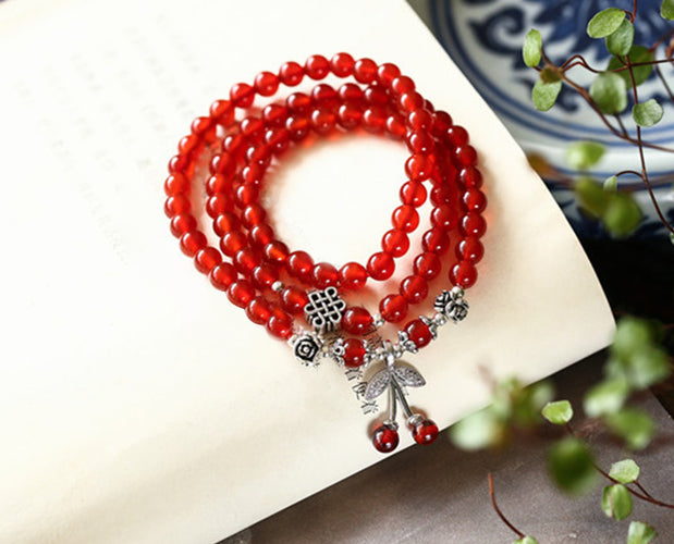 Cherry Red Happy Holidays Beaded Bracelet