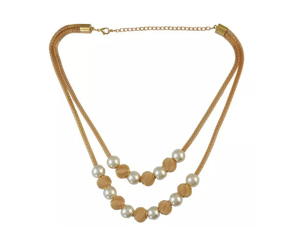 Braided Gold and Pearl Necklace