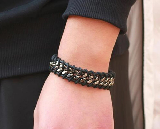 Metal and Leather Braided Bracelet Sale