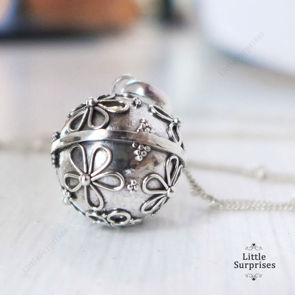 16mm Daisy Flower Harmony Ball Sterling Silver Chime Pendant LS57