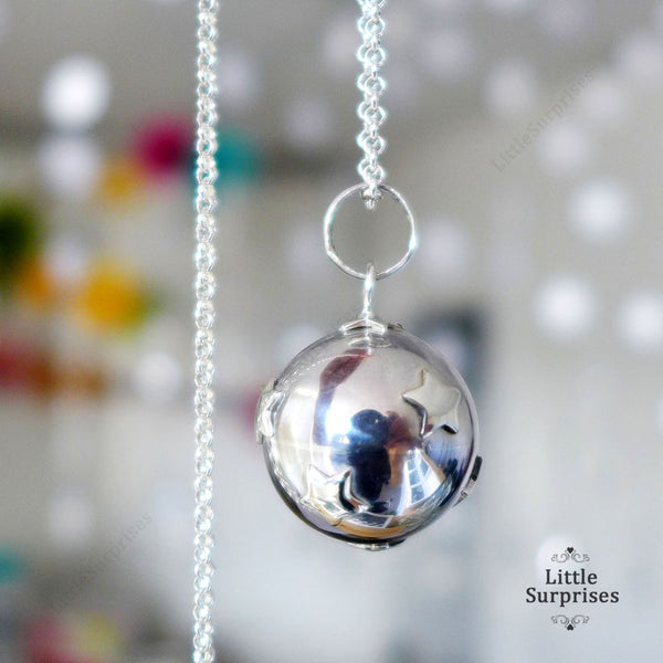 16mm Little Stars Harmony Ball Sterling Silver Chime Pendant LS68