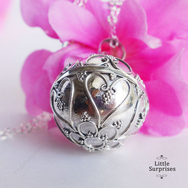 20mm Filigree Heart Harmony Ball Sterling Silver Chime Pendant LS78