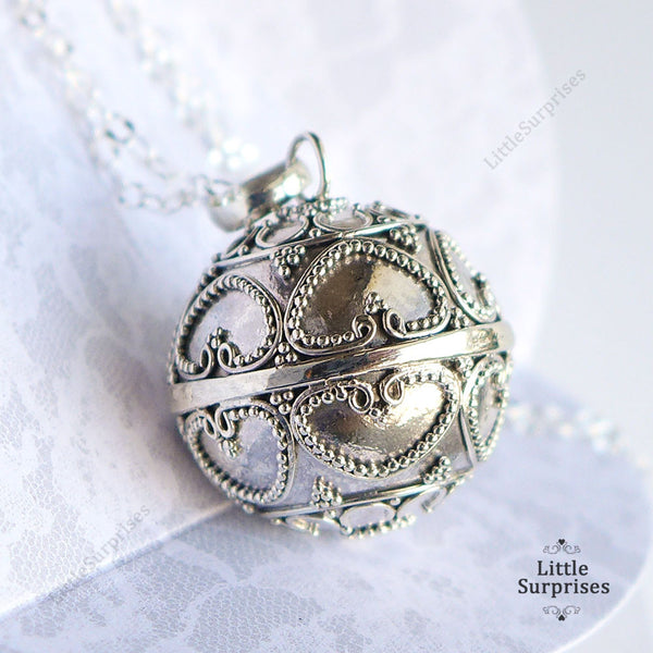 20mm Hearts Harmony Ball Sterling Silver Chime Pendant LS80