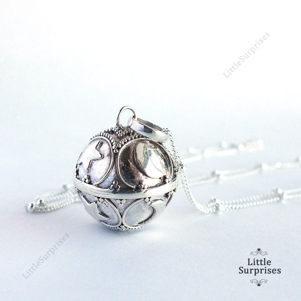 16mm Moon And Star Harmony Ball Sterling Silver Chime Pendant LS87