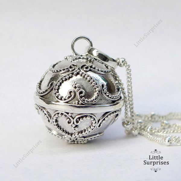 16mm Lace Heart Harmony Ball Sterling Silver Chime Pendant LS88