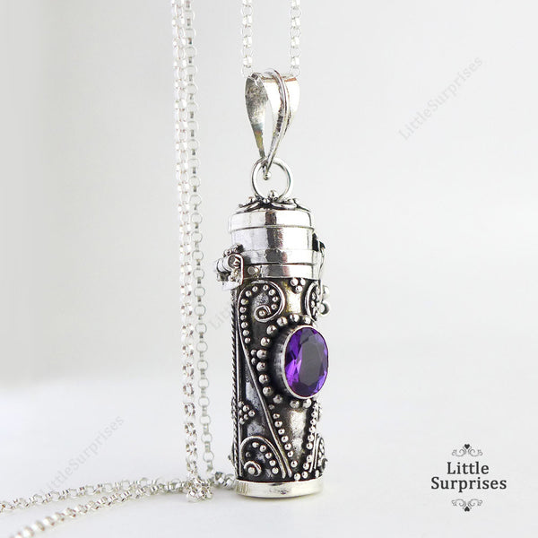 30mm Purple Amethyst Tube Container Locket Sterling Silver Pendant LS92