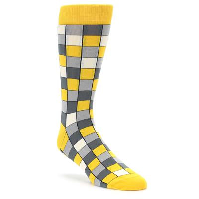 Yellow Grey Checkered Men's Dress Socks