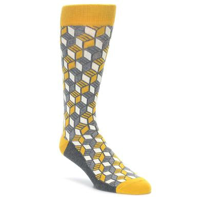Grey Mustard Cube Men's Dress Socks