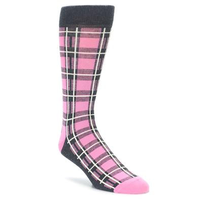 Pink Grey Plaid Men's Dress Socks