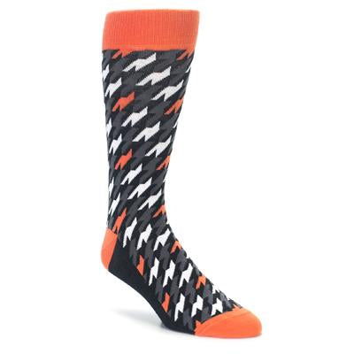 Orange Black Houndstooth Men's Dress Socks