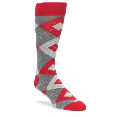Valentina Red Gray Argyle Men's Dress Socks