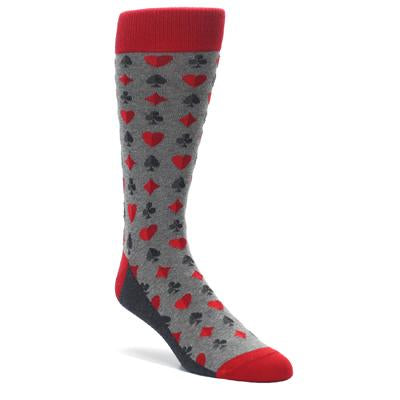 Gray Red Deck of Card Suits Men's Dress Socks