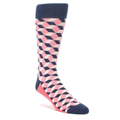 Flamingo Pink Navy Beeline Optical Men's Dress Socks