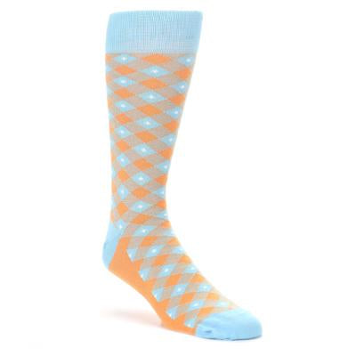 Blue Orange Diamond Plaid Men's Dress Socks