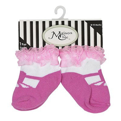 Pink Mary Jane Socks with Ruffles