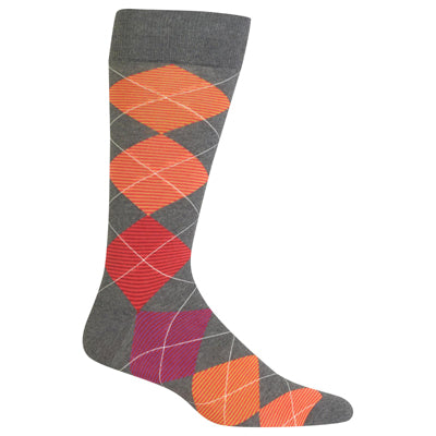 Men's Charcoal Feed Stripe Argyle Crew Socks