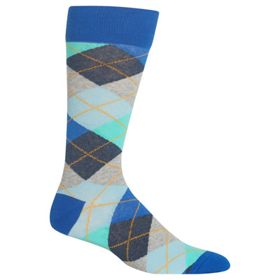 Men's Blue Argyle Crew Socks