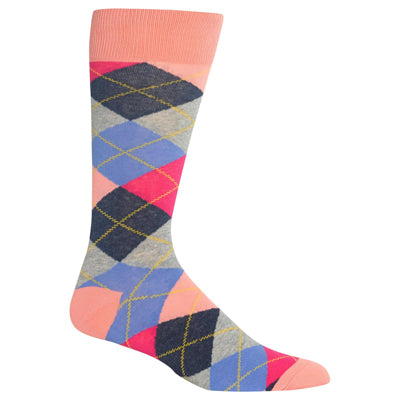 Men's Pink Argyle Crew Socks