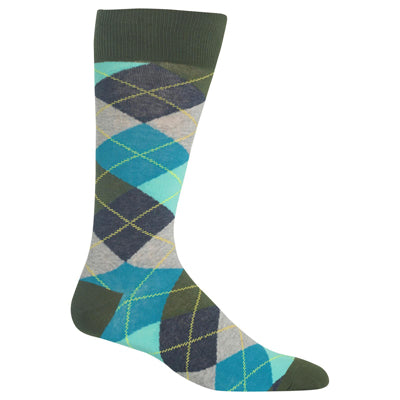 Men's Green Argyle Crew Socks