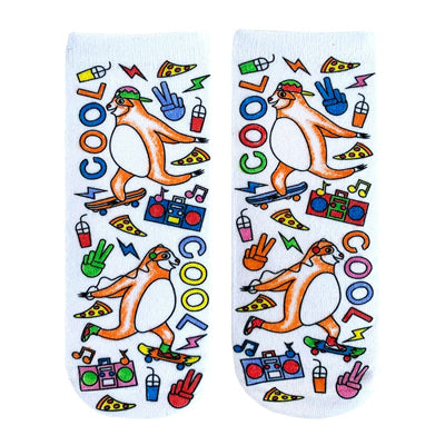 Color-In Socks Skateboarding Sloth