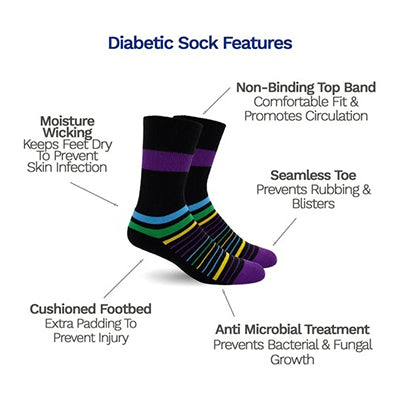 Diabetic Socks - Multi Stripes