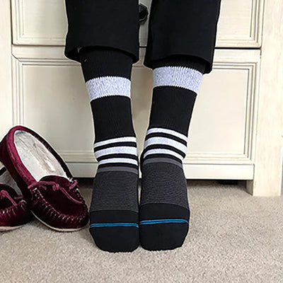 Diabetic Socks - Black Stripes