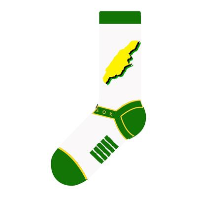 Jamaica Map Crew Socks - White